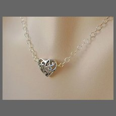 Heart solitaire Pierced Silver adjustable Camp Sundance necklace