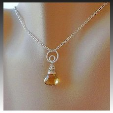Citrine Necklace, Silver necklace, circle link pendant, Camp Sundance Gem Bliss
