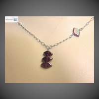 Red Garnet trio necklace antiqued Sterling Silver pendant Camp Sundance