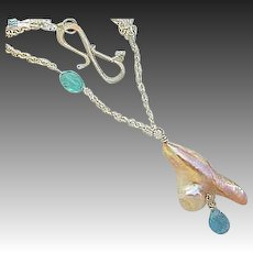Baroque Pearl pendant, Silver Pearl Necklace, Topaz necklace, Camp Sundance, pendant necklace, Gem Bliss