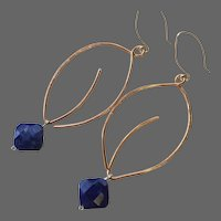 Copper Hoop Earrings Leaf hoops Sodalite charm Silver hooks Gem Bliss