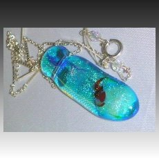 Dichroic Koi art glass pendant Sterling silver Camp Sundance necklace Gem Bliss