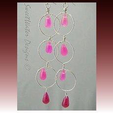 Hot Pink Silver hoop earrings long Camp Sundance chandeliers