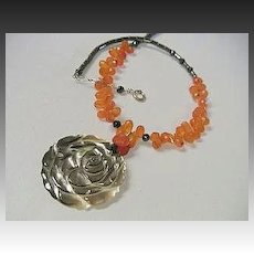 Carnelian carved rose necklace Camp Sundance Gem Bliss