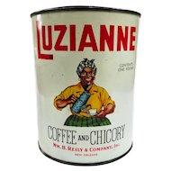 Black Americana Luzianne White Label Coffee Can