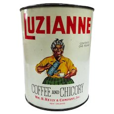 Black Americana Luzianne White Label Coffee Can