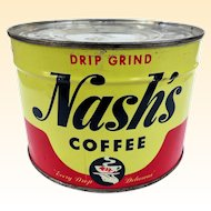 Wow! Unopened Nash's Coffee Key Wind Can 1950s!