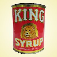Colorful Graphic King's Syrup Can 1960s
