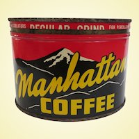 Vintage Manhattan Key Wind Coffee Advertising Can
