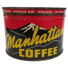 Vintage Manhattan Key Wind Coffee Advertising Can