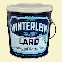 Interesting Winterlein Lard Pail Circa 1950