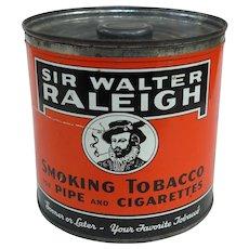 1950s Sir Walter Raleigh Tobacco Humidor Can