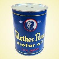 Vintage Mother Penn Motor Oil Advertising Bank