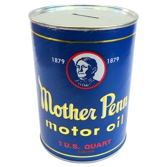 Vintage Mother Penn Motor Oil Advertising Bank
