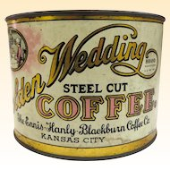 Old 1920s Golden Wedding One Pound Coffee Can