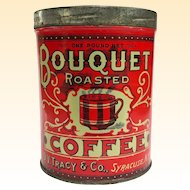 Old 1920s Bouquet One Pound Coffee Can Excellent