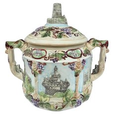 A Colorful Vintage German Tureen or Punch Bowl With Castle Scenes