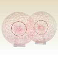 A Pair Of Victorian Cranberry Spatter Gold Aventurine Plates
