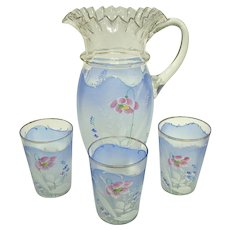 A Beautiful Victorian Glass Enameled Water /  Lemonade Set