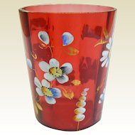 A Hand Painted Victorian Cranberry Glass Tumbler