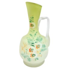 A Hand Painted Enamel Victorian Cased Glass Ewer