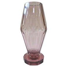 Moser Josef Hoffman Amethyst Cut Crystal Vase Circa 1920
