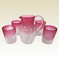 Boston and Sandwich Overshot Crackle Clear to Cranberry Glass Milk Pitcher and Matching Tumblers