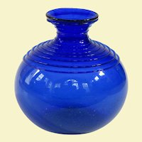 An Early Hand Blown Cobalt Vase With Thread Decoration, C1850