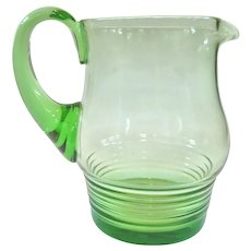 An Interesting Antique European Green Glass Pitcher