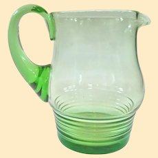 An Interesting Antique European Green Glass Pitcher