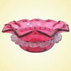 Antique Cranberry Finger Bowl With Applied Rigaree
