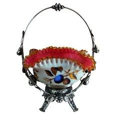Sensational Victorian Bride's Basket Meriden Holder Stevens and Williams Glass Hand Decorated