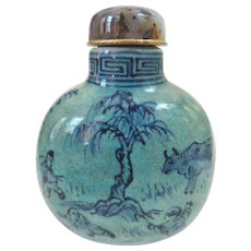 An Unusual Blue Provincial Antique Chinese Snuff Bottle Tongzhi Mark Circa 1870