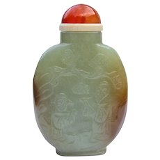 An Antique Nephrite Jade Chinese Snuff Bottle