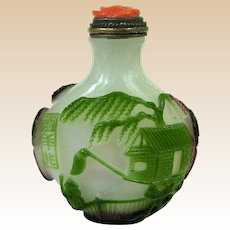 An Antique Three Color Peking Overlay Glass Chinese Snuff Bottle