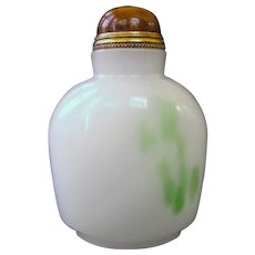 An Antique Peking Glass Imitating Jade Chinese Snuff Bottle