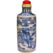 A Good Underglaze Blue Antique Chinese Snuff Bottle