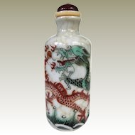 An Intricate Antique Famille Verte Chinese Snuff Bottle