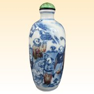 An Excellent Blue and Red Underglaze Antique Chinese Snuff Bottle 19th Century