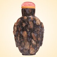 An Excellent Antique Chinese Puddingstone Snuff Bottle