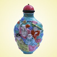 An Antique Polychrome Porcelain Snuff Bottle Eight Immortals