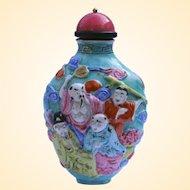 An Antique Polychrome Porcelain Snuff Bottle Eight Immortals