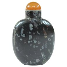 An Beautiful Antique Black Puddingstone Snuff Bottle