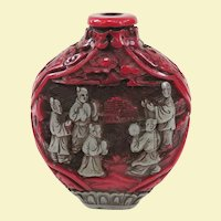 An Old Cinnabar Type Chinese Snuff Bottle Circa 1900-1940