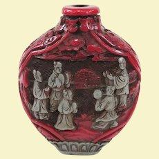 An Old Cinnabar Type Chinese Snuff Bottle Circa 1900-1940