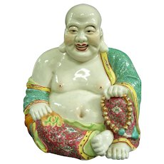A Large Antique Chinese Hotei Porcelain Buddha