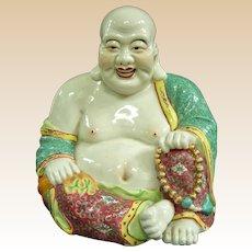 A Large Antique Chinese Hotei Porcelain Buddha
