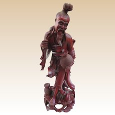 An Impressive Large Antique Chinese Carved Rosewood Fisherman