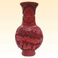 A Late Qing Dynasty Antique Export Chinese Cinnabar Vase