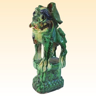 An Antique Chinese Wucai Roof Tile Foo Dog